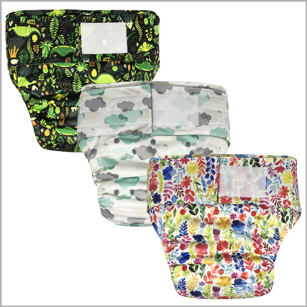 Teen & Adult Cloth Diaper with Bamboo Insert, Hook-&-Loop, One Size