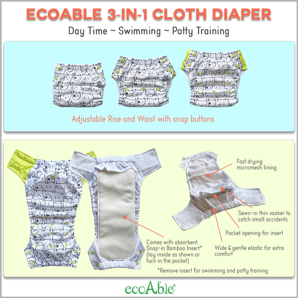 EcoAble 3-in-1 Hybrid Cloth Diaper - Reusable Training Pants or Reusable Swim Diaper, Newborn Baby to 10 Years