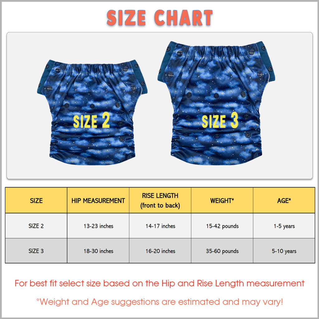 EcoAble 3-in-1 Hybrid Cloth Diaper - Reusable Training Pants or Reusable Swim Diaper, Baby to 10 Years