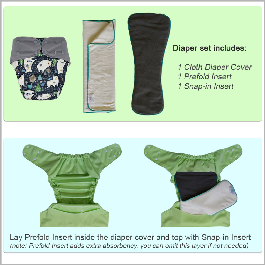 Ecoable - Cloth Diaper Cover Set - Reusable Special Needs Incontinence Briefs with Bamboo Inserts for Big Kids, Teens and Adults