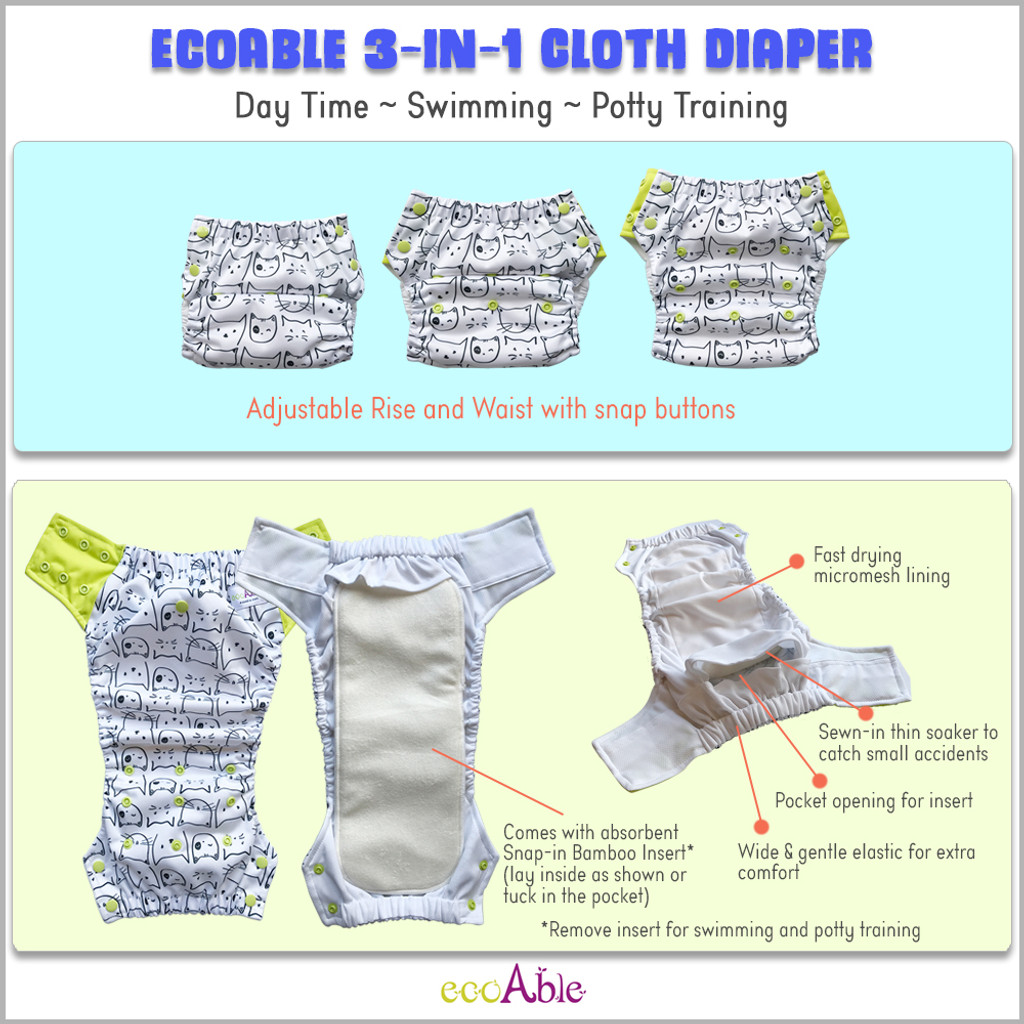 3-in-1 Hybrid Cloth Diaper, Potty Trainer and Swim Diaper, 3-Pack
