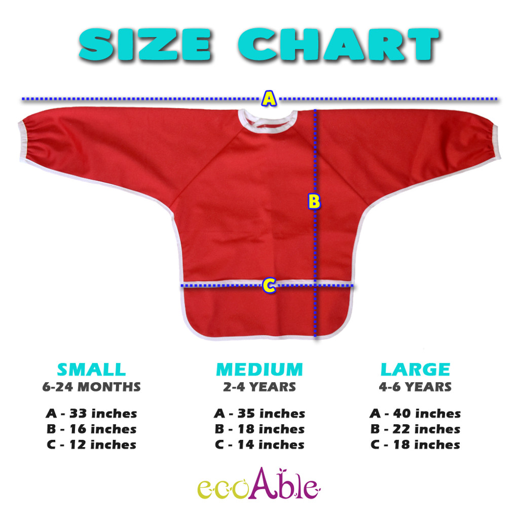 Ecoable - Baby Long Sleeve Bib for Feeding and Baby Led Weaning, Small 6-24 Months