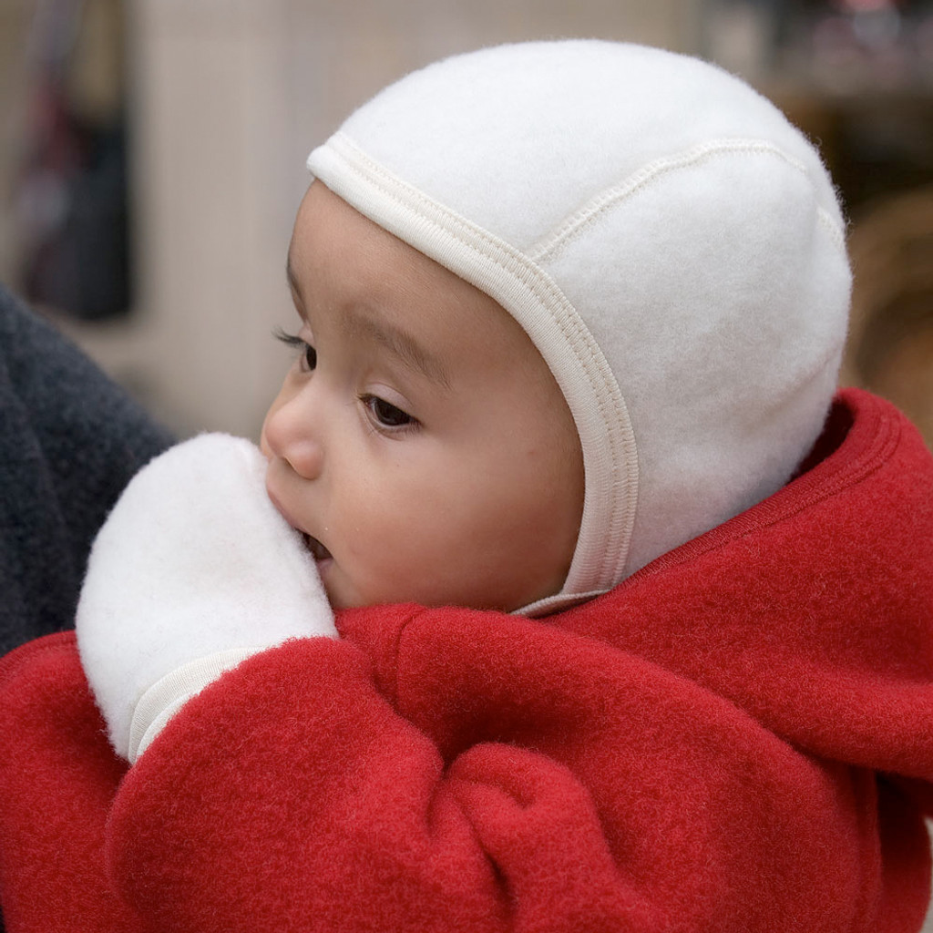 Engel - Newborn Baby Bonnet: Infant Ear Protection Hat Pilot Cap, 0-6 months, Organic Merino Wool Fleece