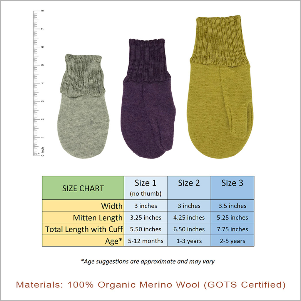 Toddler and Kids Mittens: 100% Organic Merino Wool, 5 months - 5 years
