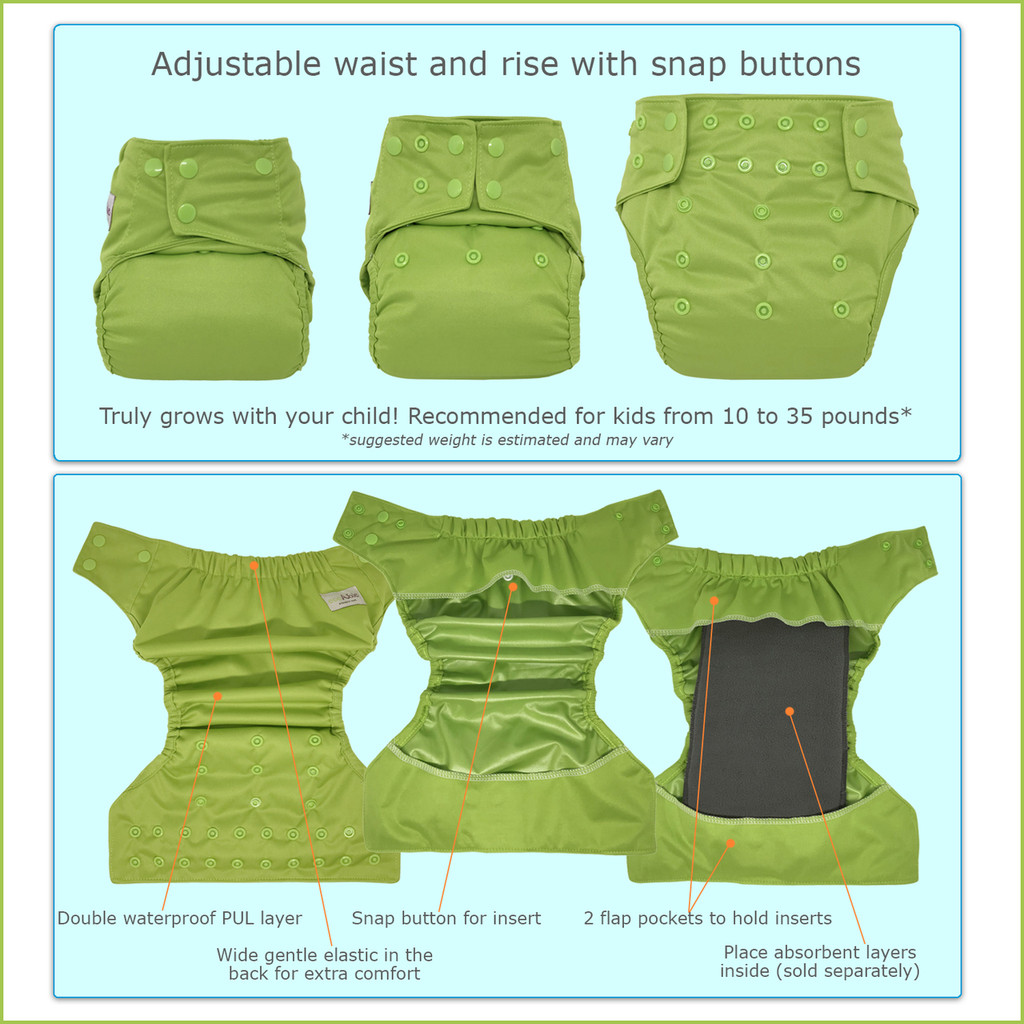 EcoAble - Baby Heavy Duty Diaper Cover (No Leg Gussets)