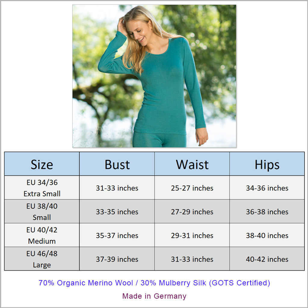 Engel - Women's Thermal Shirt for Layering, 70% Organic Merino Wool 30% Silk