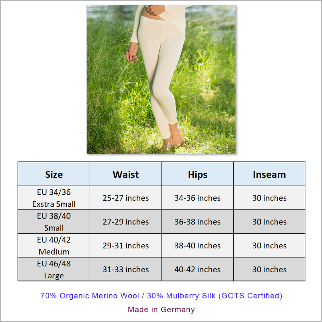 Women's Thermal Base Layer Leggings , 70% Organic Merino Wool 30% Silk