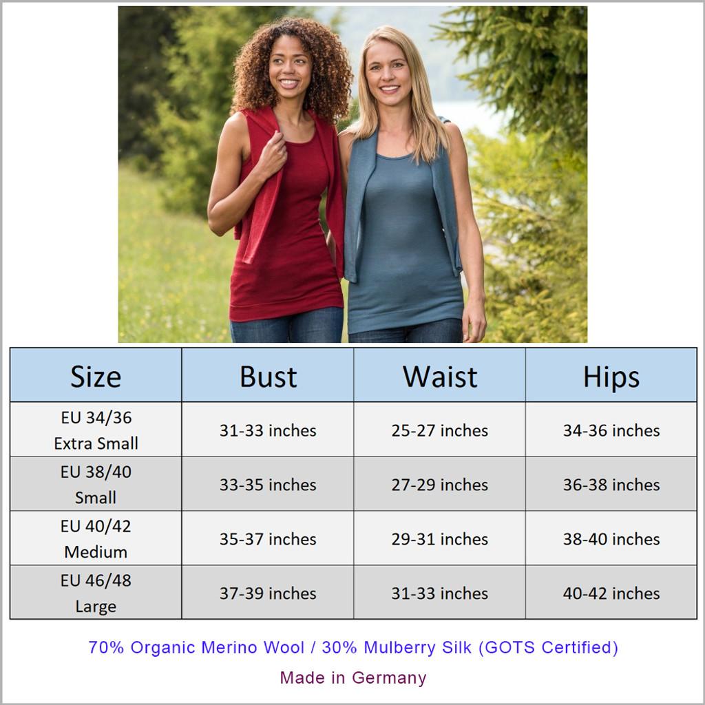 Engel - Women's Thermal Hip Length Top, 70% Organic Merino Wool 30% Silk