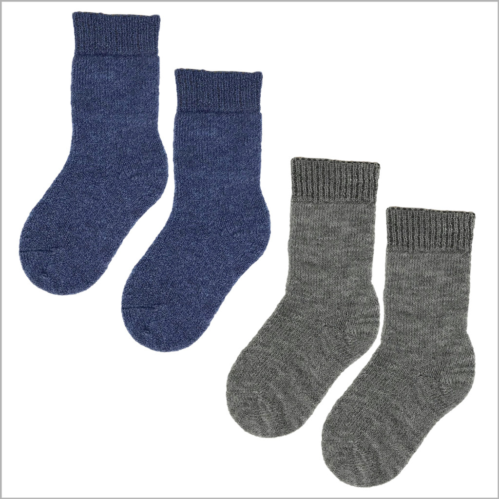 100% Organic Virgin Wool Socks for Girls and Boys, Size Baby – 8 Years (3 pairs)