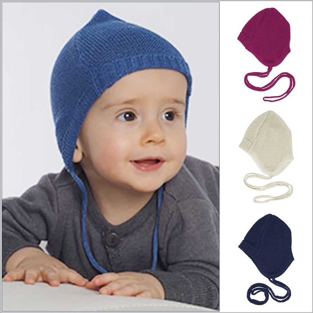Reiff - Baby Bonnet Hat, 100% Organic Merino Wool, Sizes 0-12 months