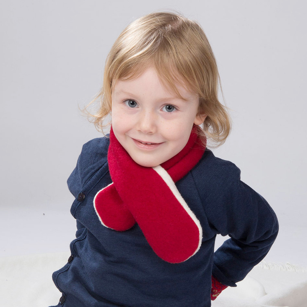 Kids Winter Neck Scarf, Organic Merino Wool and Cotton Sherpa, Size 1 to 6 years