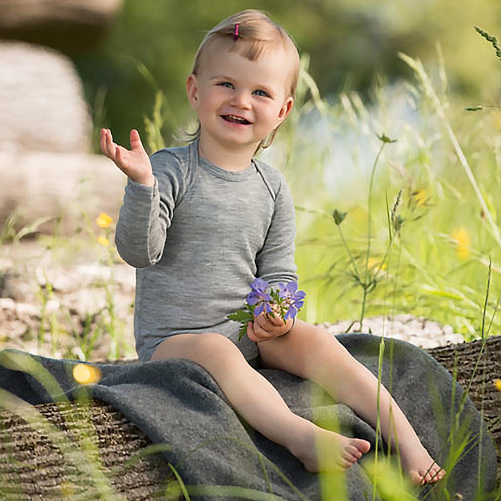 Engel - Baby Thermal Onesie with Long Sleeves, 70% Merino Wool 30% Silk, Sizes Newborn - 3 Years