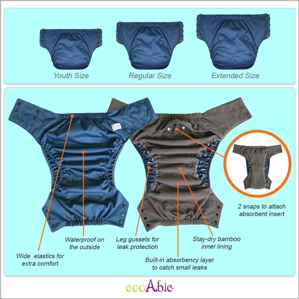 EcoAble - Pull On Cloth Diaper with Insert – Special Needs Briefs for Big Kids, Teens and Adults
