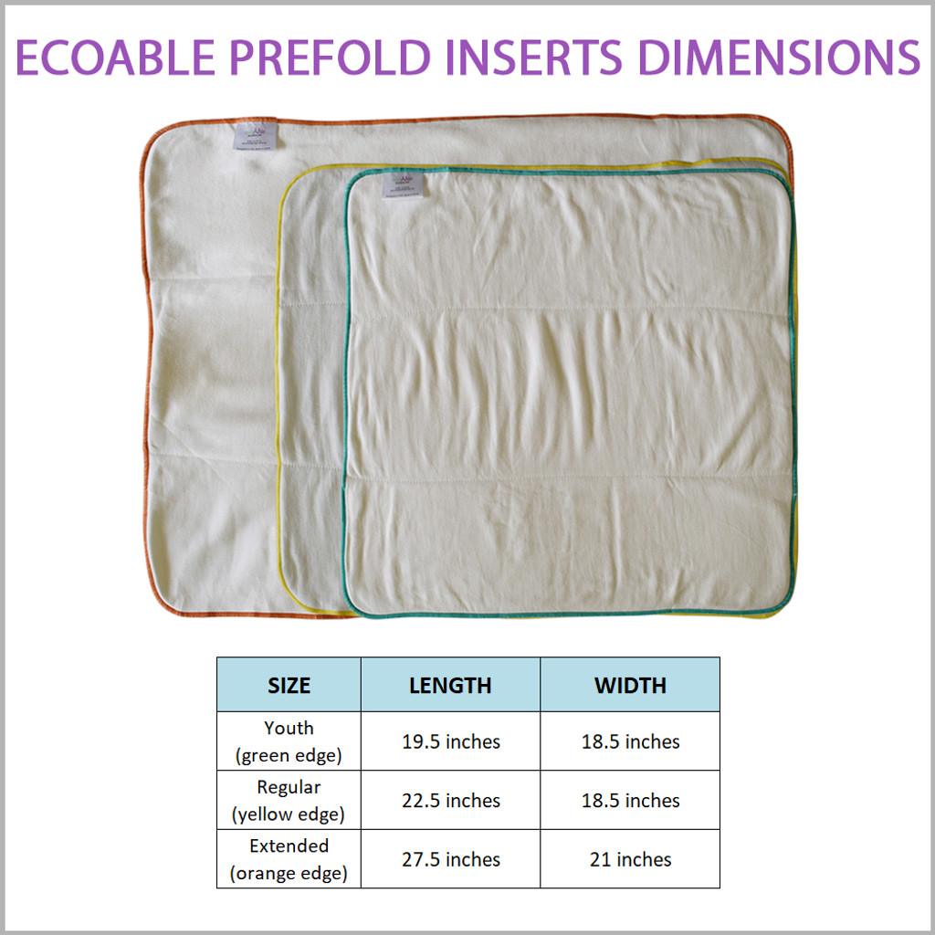 Bamboo Cotton Prefold Insert for Cloth Diapers (Big Kid, Teen and Adult Sizes)