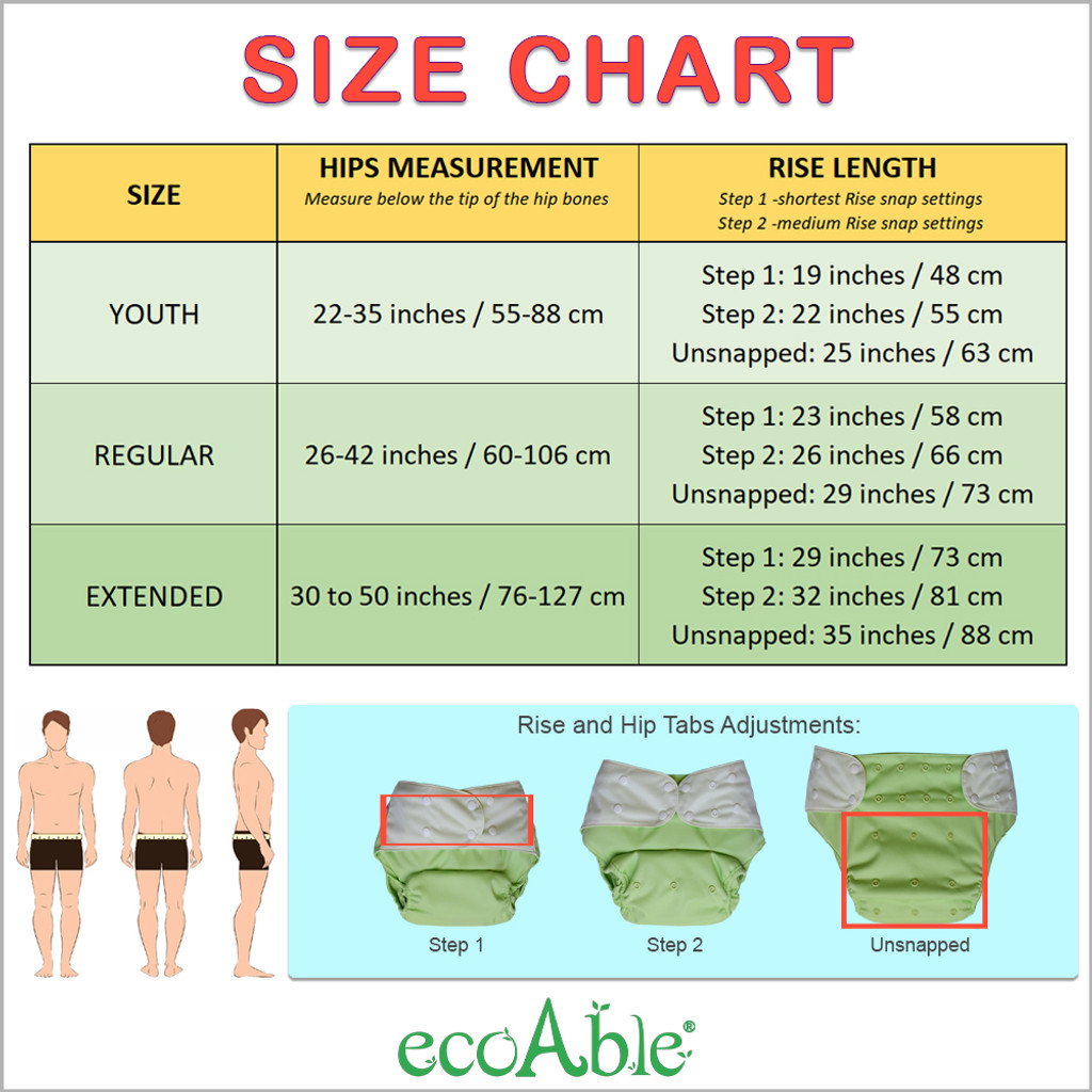 Cloth Diaper Cover - Reusable Special Needs Incontinence Briefs for Big Kids, Teens and Adults