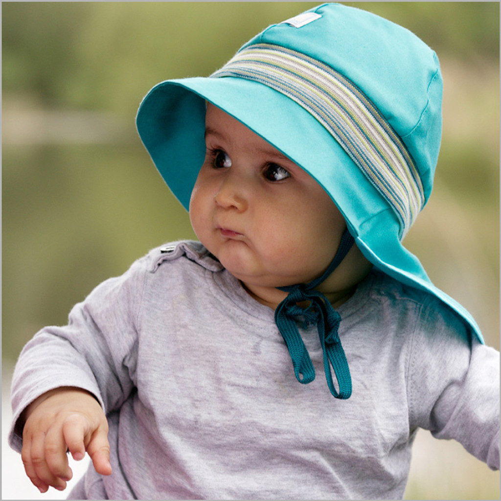 Pickapooh - Baby Sun Hat with Neck Flap Sunblock and Chin Straps, Organic Cotton UV 80
