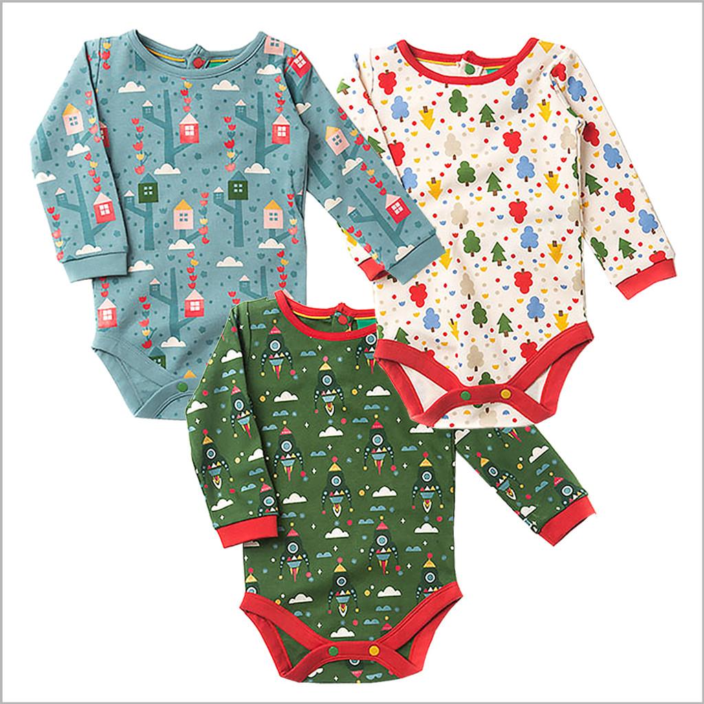 Organic Baby Clothes – Long Sleeve Onesie Bodysuit, Fairtrade Cotton. Little Green Radicals.