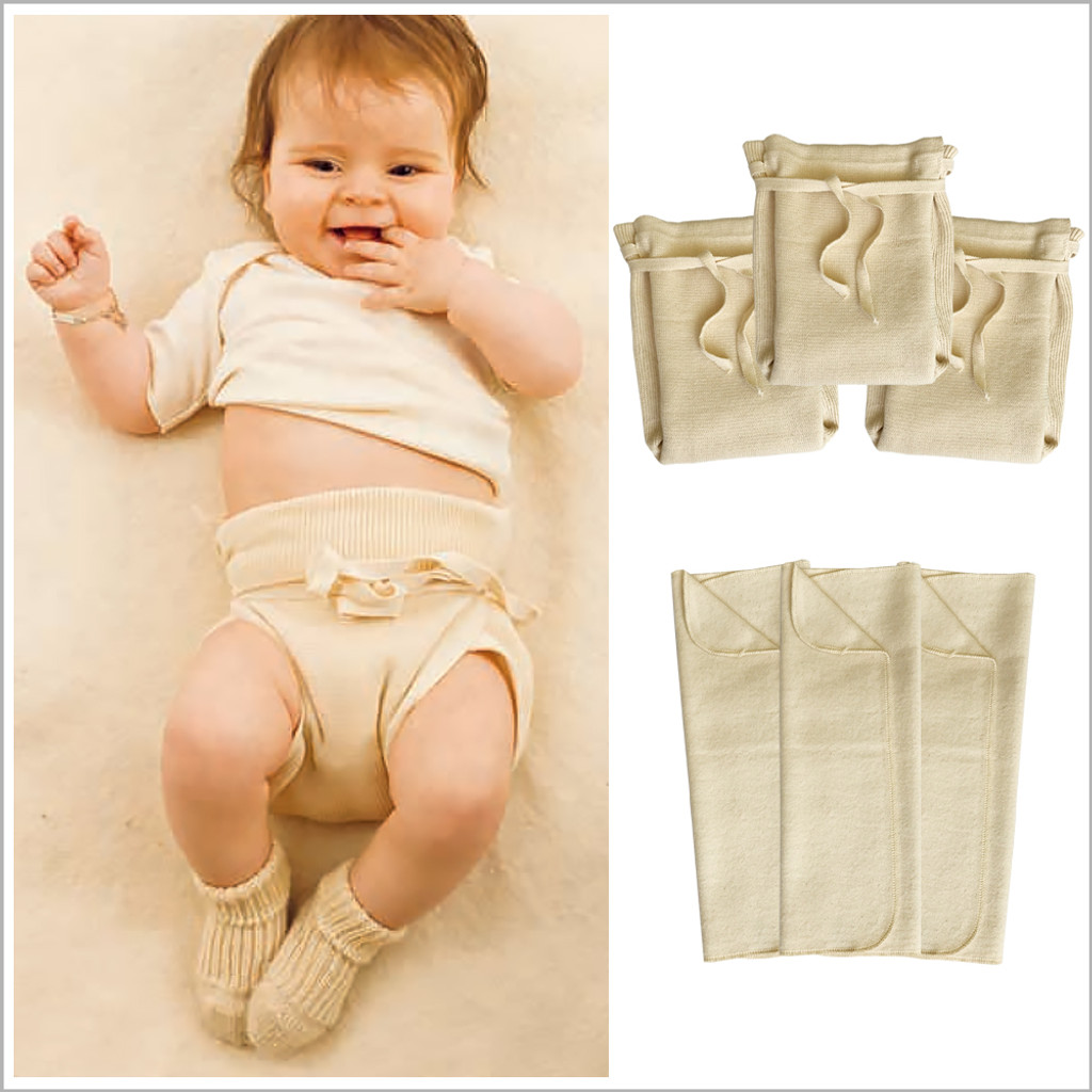 DISANA - Baby Fitted Cloth Diapers with Diaper Booster Pads Set, 100% Cotton