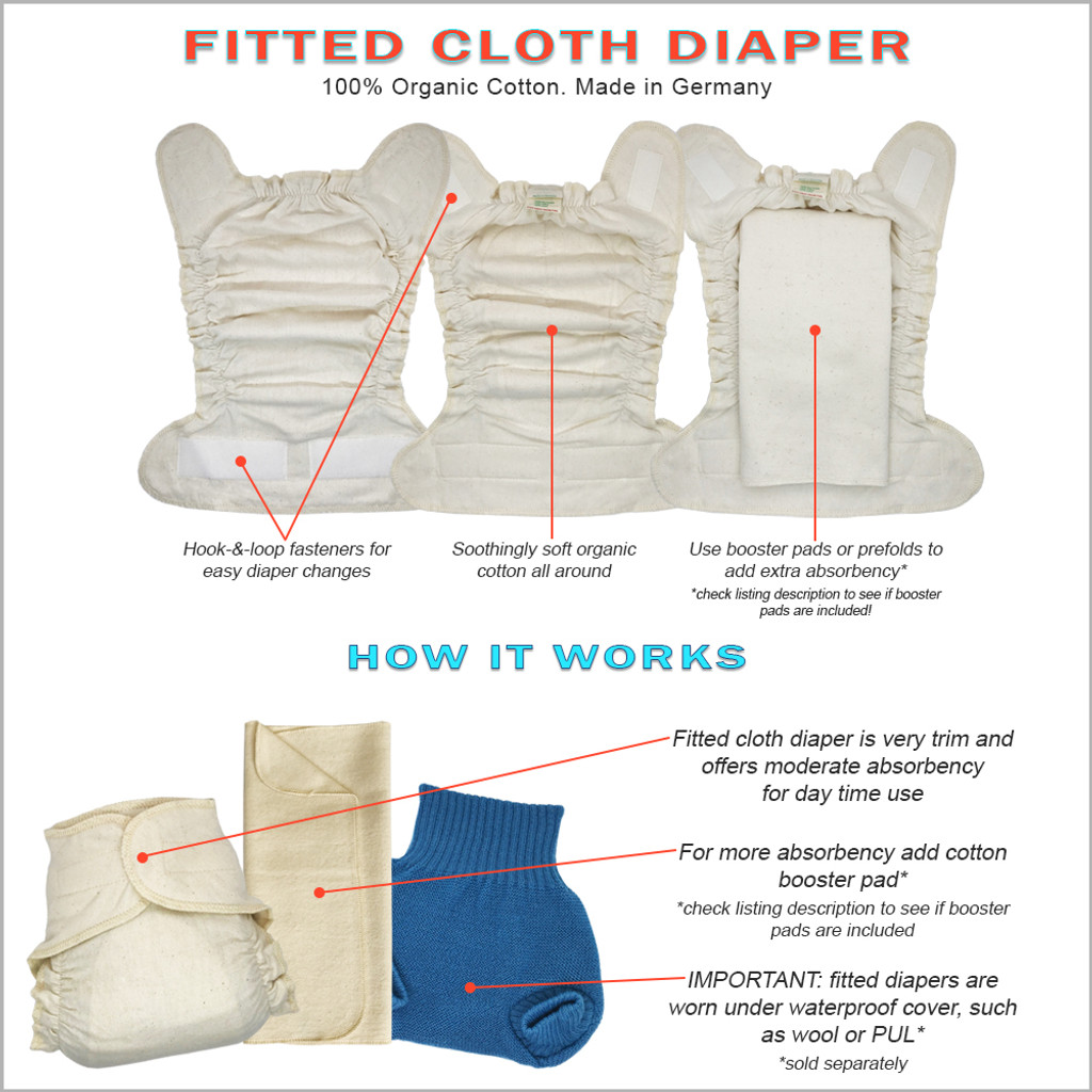 DISANA - Hook-&-loop Cotton Fitted Cloth Diapers with Diaper Booster Pads Set for Baby and Toddler