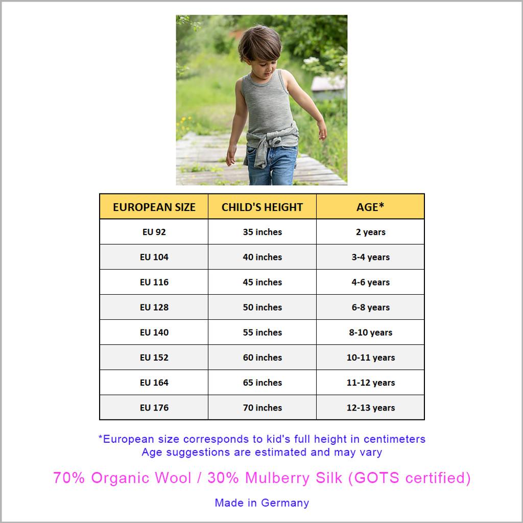 Engel - Kids Sleeveless Thermal Shirt: Base Layer or Pajama Top, Organic Merino Wool Silk