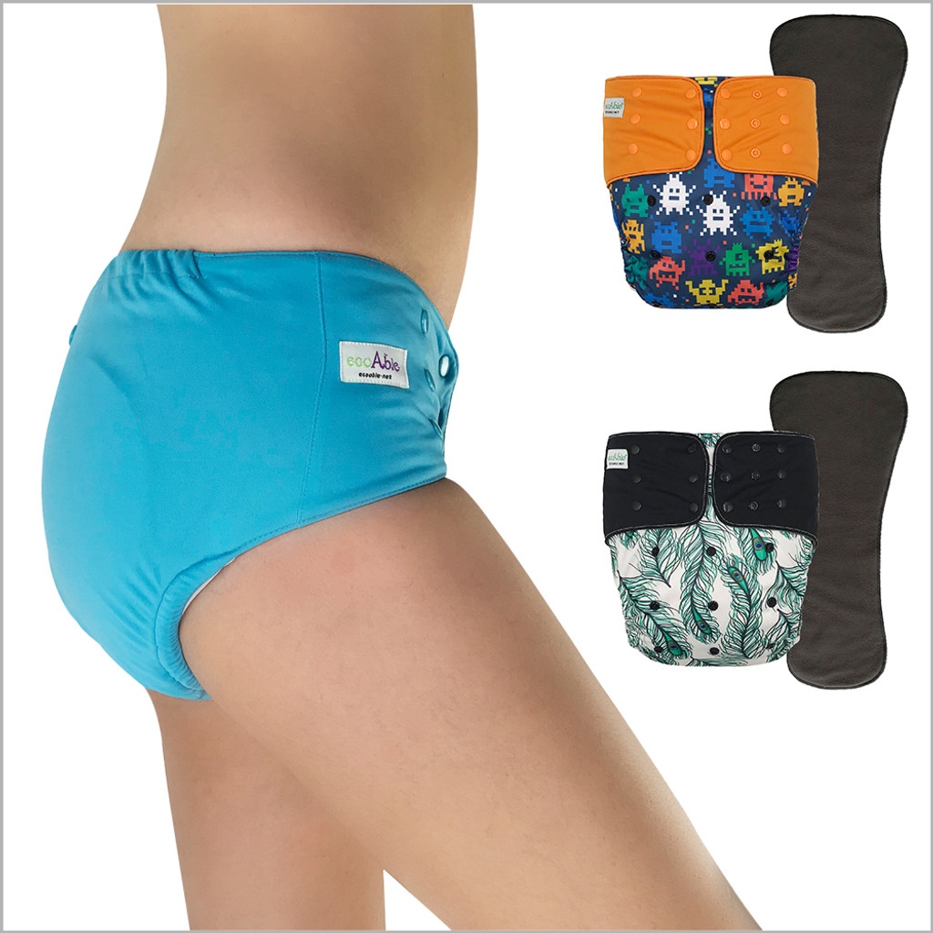 EcoAble - Adult Cloth Diaper with Tabs Washable Incontinence Special Needs Briefs with Insert for Women, Men and Big Kids