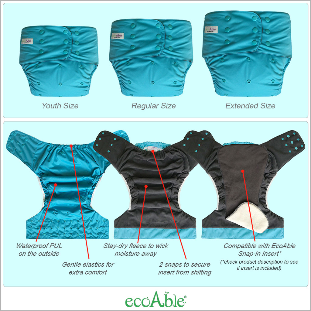 EcoAble - Adult Nighttime Diaper Set: Washable Incontinence Special Needs Day or Night Diaper for Women, Men and Big Kids
