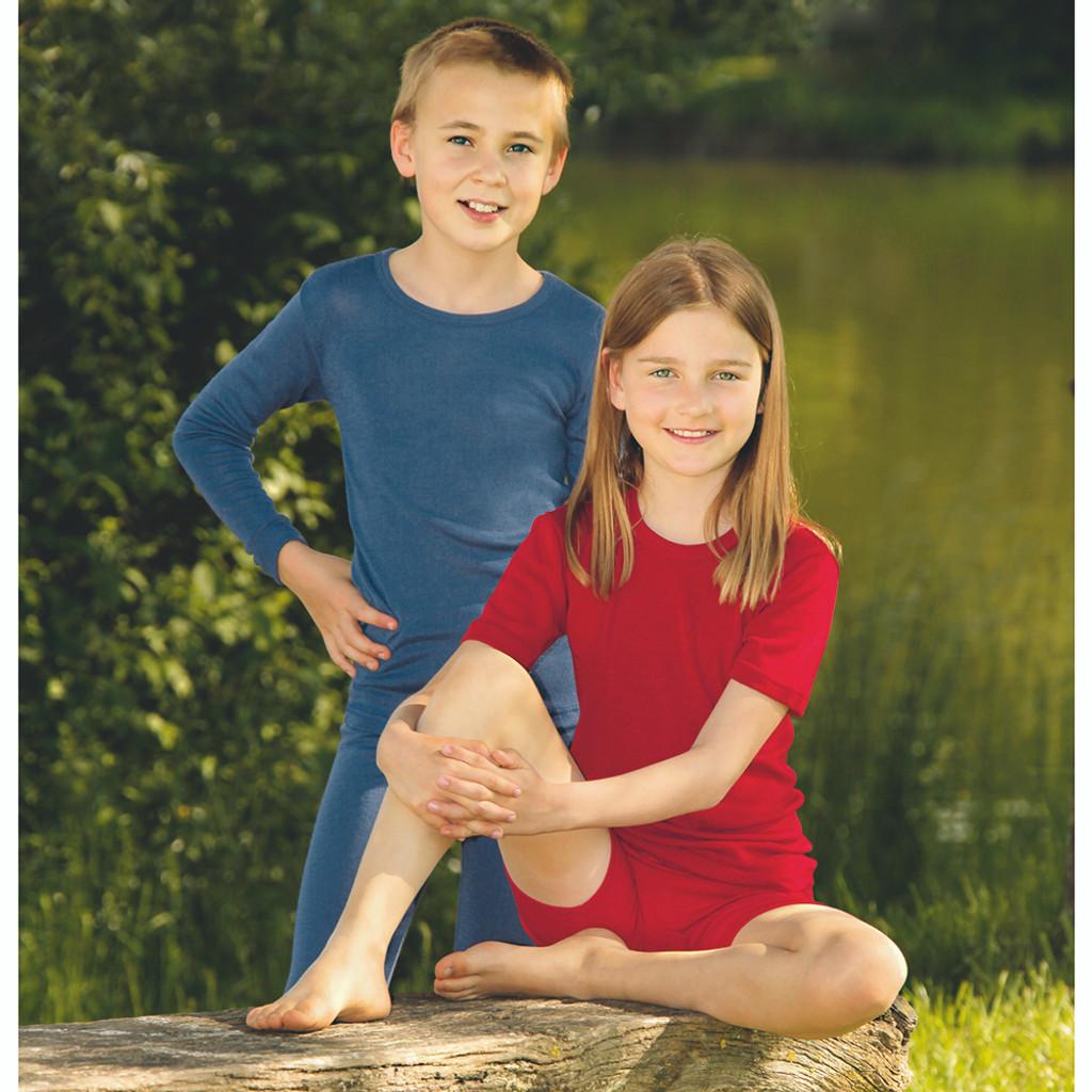 ENGEL - Kids Long Sleeve Thermal Base Layer Shirt or Pajama Top, Organic Merino Wool Silk, Sizes 2-13 years