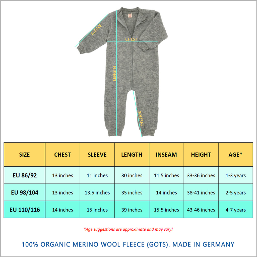 ENGEL - Kids Thermal Coverall Romper with Zipper, Organic Merino Wool, 1-7 years