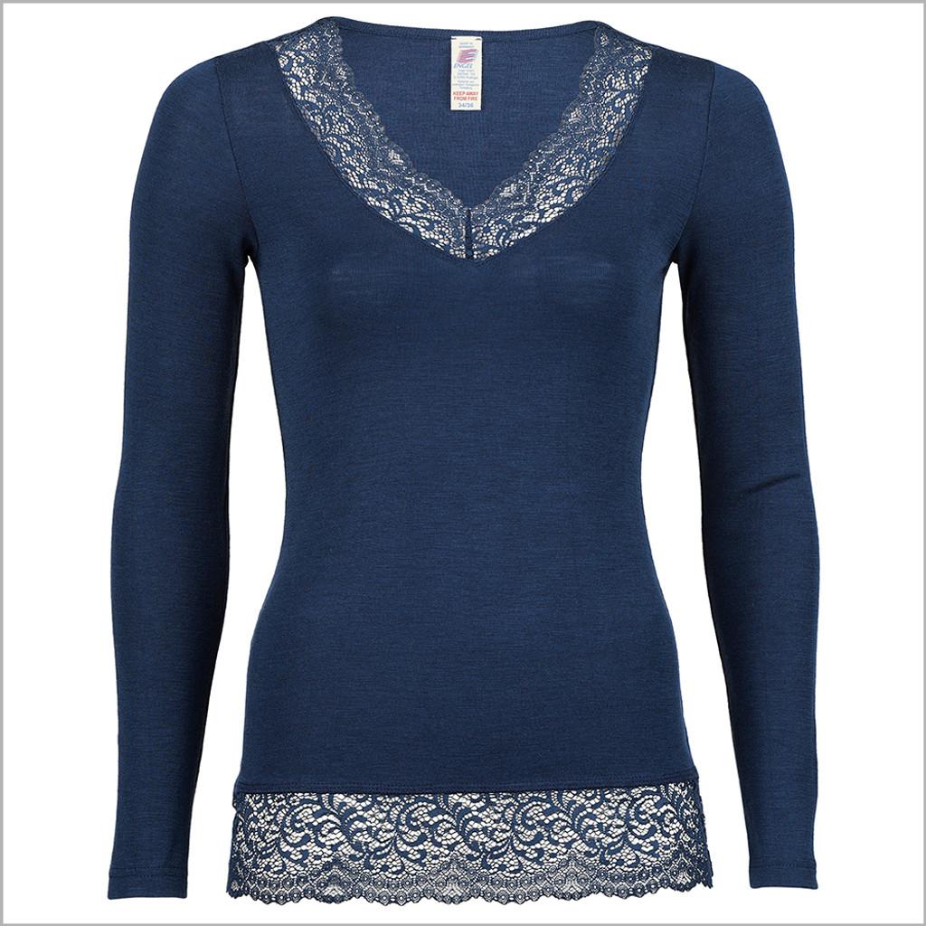 ENGEL - Women's Thermal Base Layer Top - Lightweight Moisture Wicking Merino Wool Silk V-Neck Undershirt with Lace
