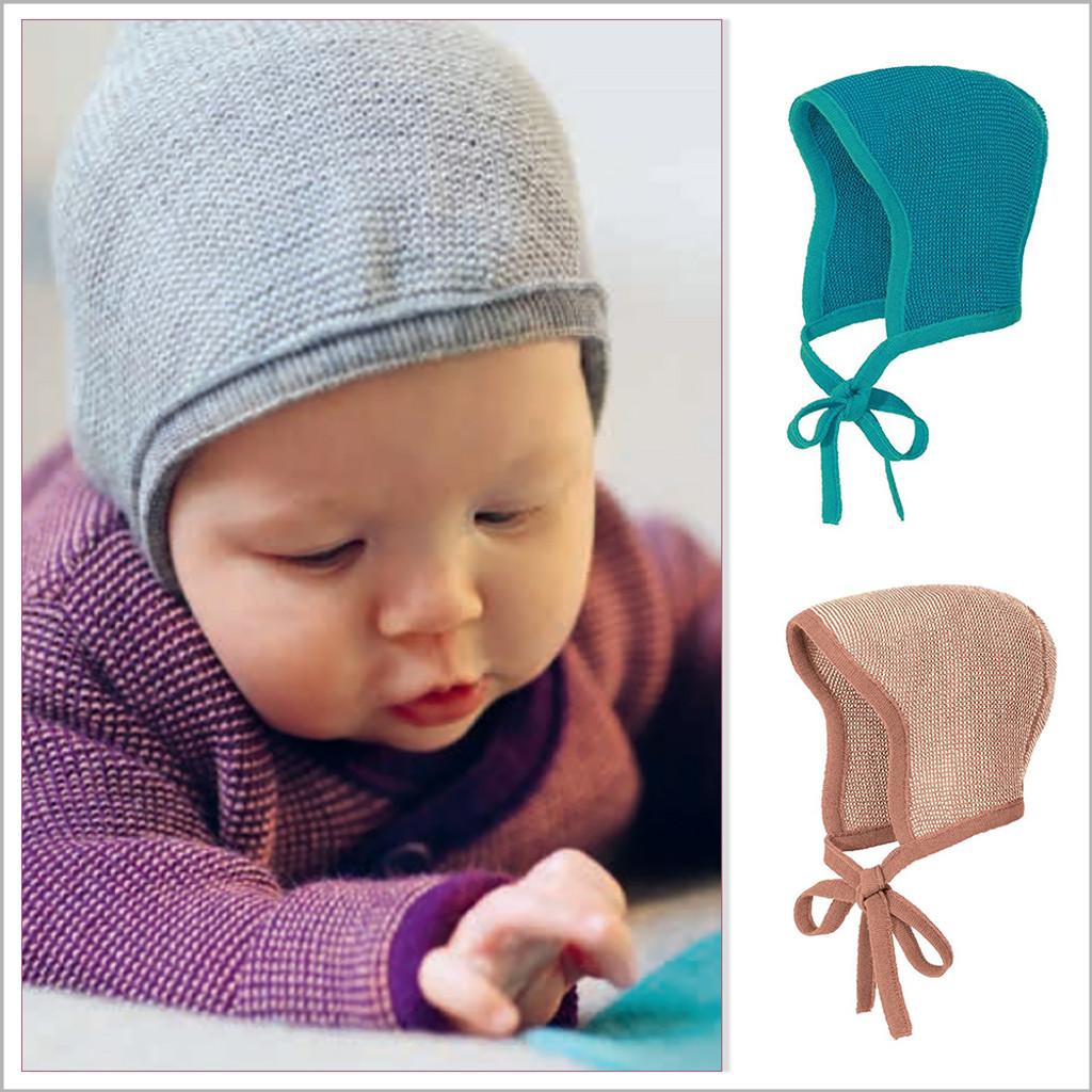 DISANA - Newborn Baby Bonnet Hat, 0-6 Months, 100% Organic Merino Wool