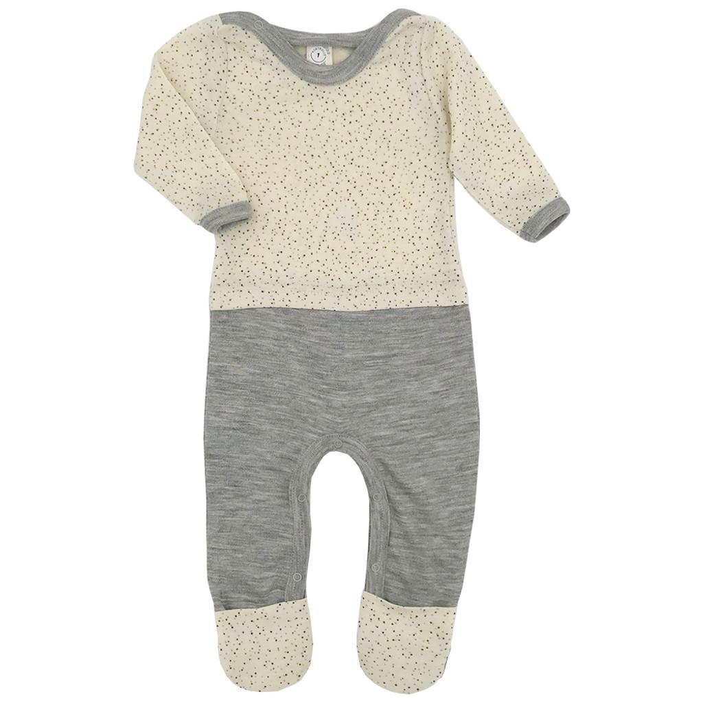 Baby Overall Romper Pajama with Feet, Organic 70% Wool and 30% Silk, Newborn - 2 Years