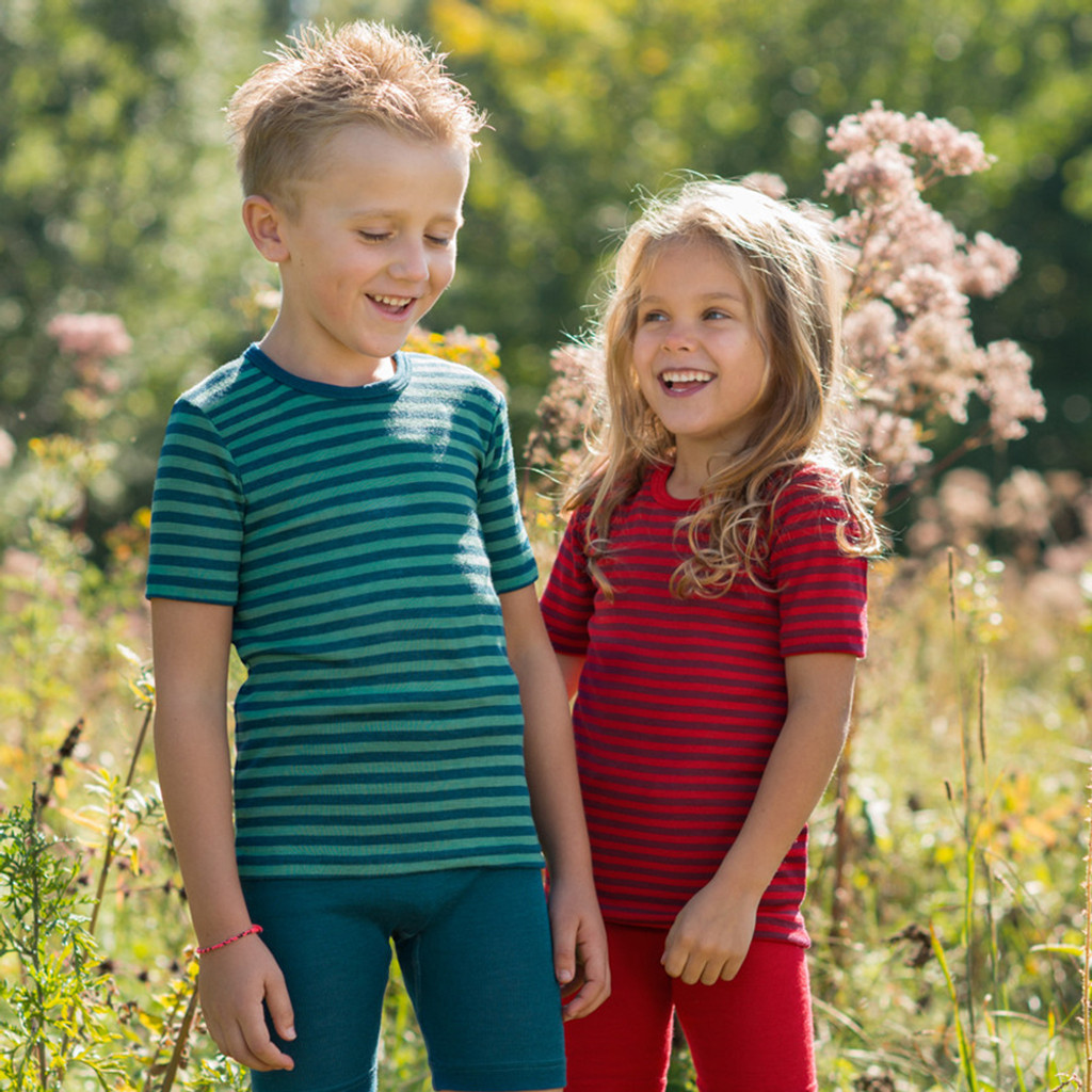 ENGEL - Kid's Short Sleeve Thermal Shirt: Warm and Thin Base Layer Top, Organic Merino Wool Silk
