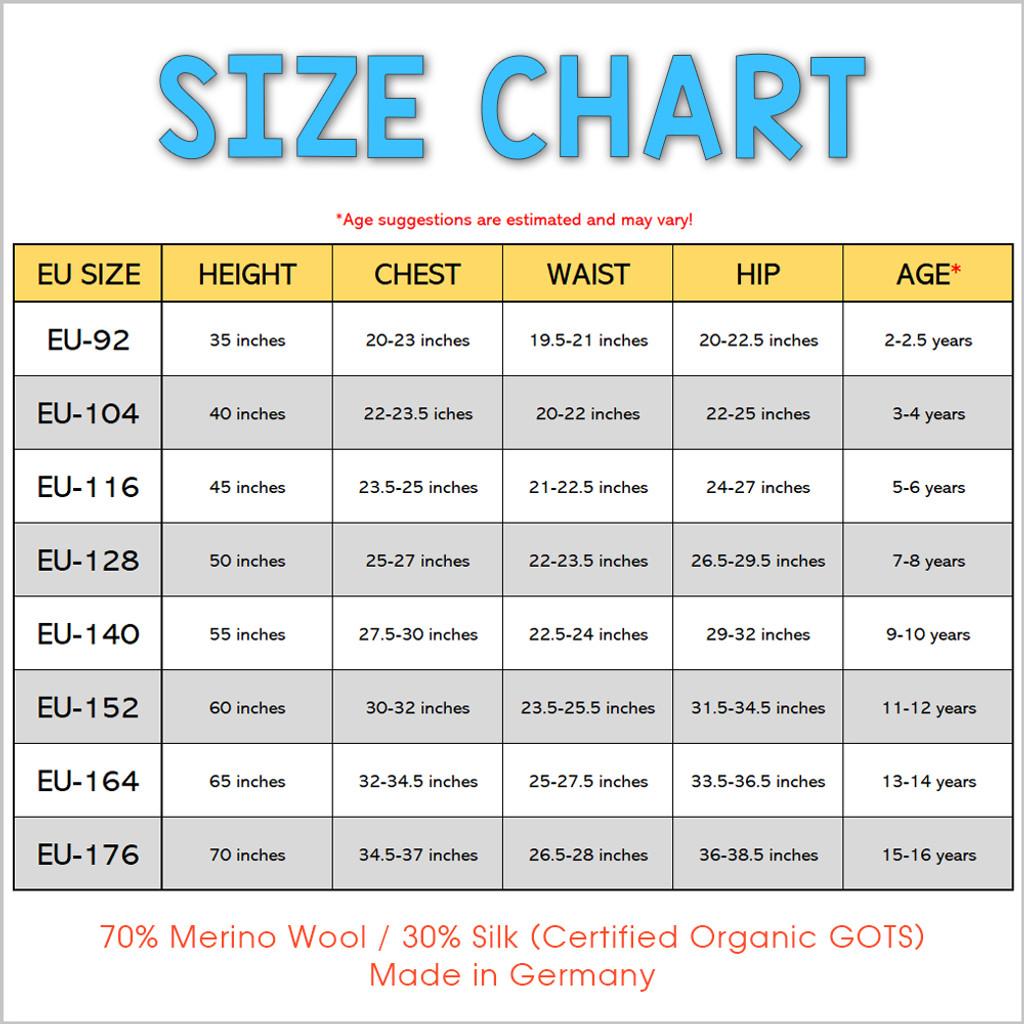 Kid's Short Sleeve Thermal Base Layer Shirt, 70% Organic Merino Wool 30% Silk, Sizes 2-15 Years