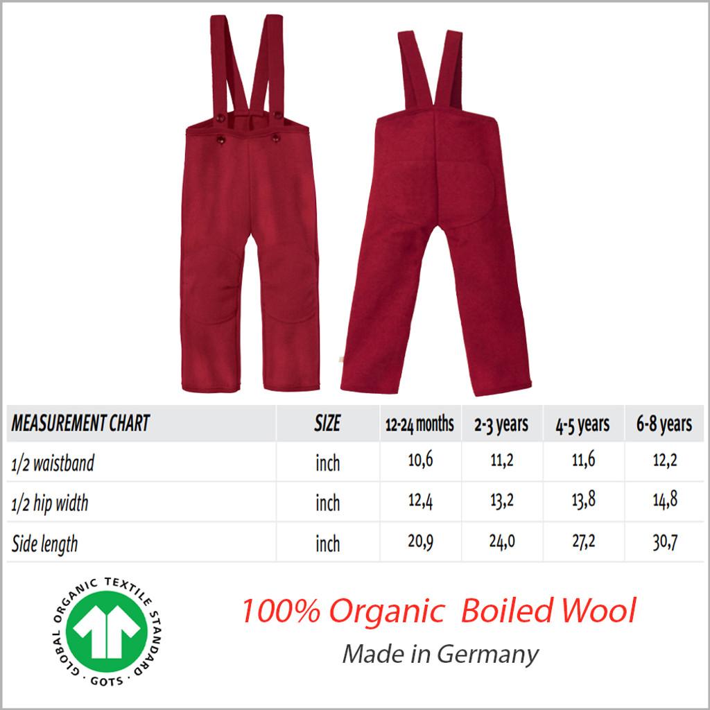 Kids Wool High Waist Pants, 100% Organic Merino Wool, 1-6 Years