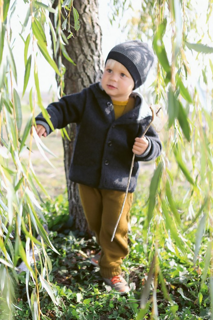 DISANA - Kids' Outdoor Jacket with Hood for Boys or Girls, 100% Organic Merino Wool, Sizes 3 months - 4 years