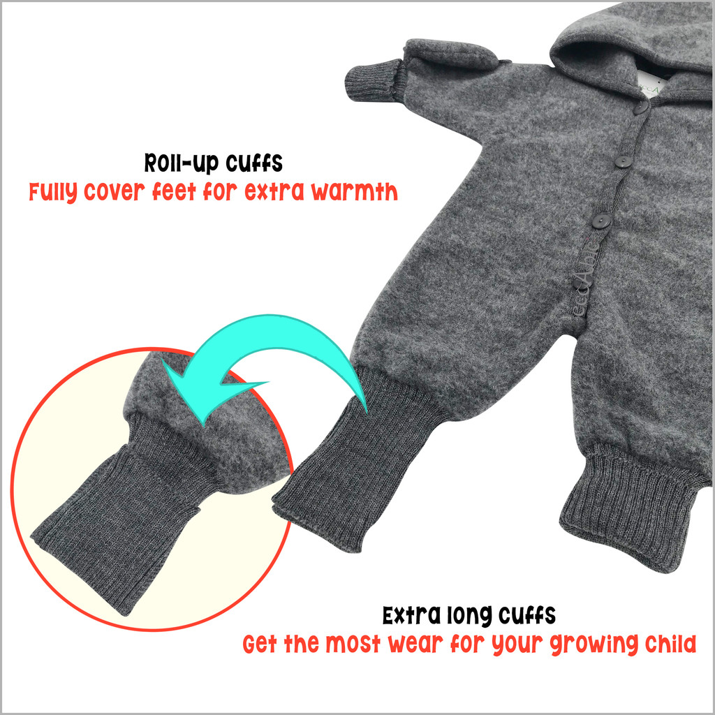 REIFF - Baby Thermal Coverall Romper with Hood and Mittens, 100% Organic Merino Wool Fleece
