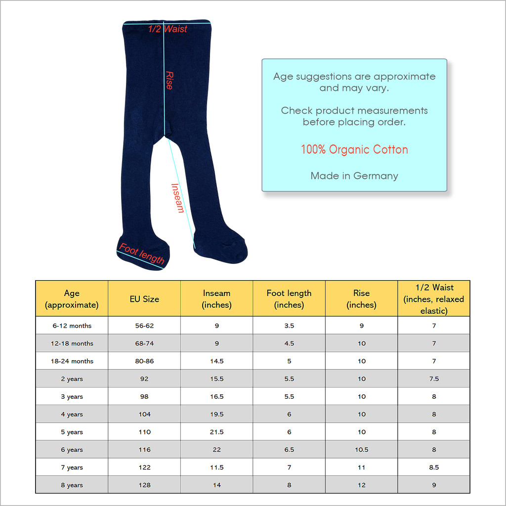 Hirsch Natur - 100% Organic Cotton Kids Tights for Girls and Boys, Sizes 6 months - 8 years