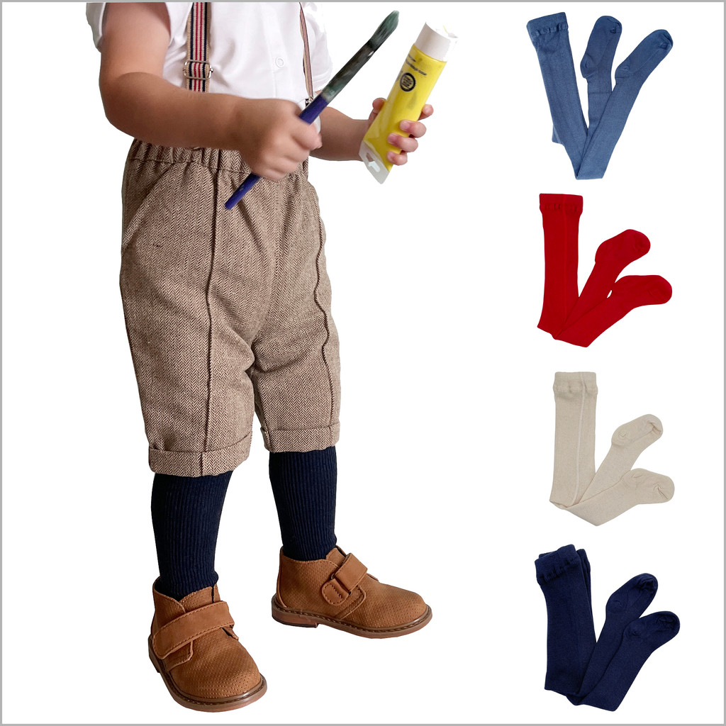 100% Organic Cotton Kids Tights for Girls and Boys, Sizes 6 months - 8 years