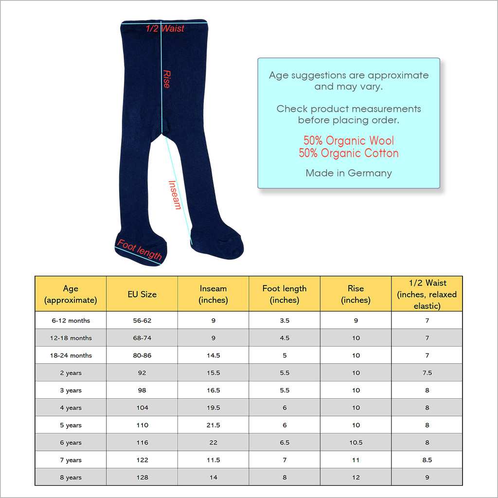 HIRSCH NATUR - Kids Thermal Tights for Girls and Boys, 50% Organic Wool 50% Cotton, Sizes 6 months - 8 years