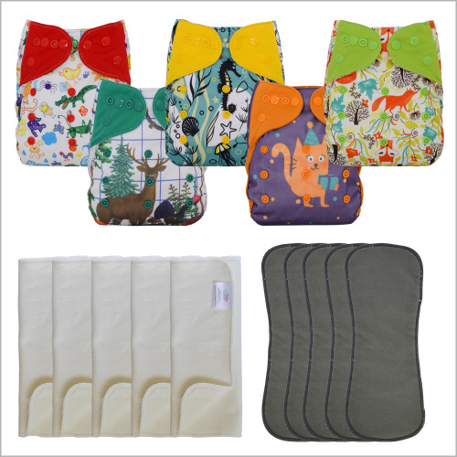 Ecoable - 15 Pcs Set Diaper Covers with Prefolds and Inserts, One Size (UNISEX-BABY-COVER-5PACK)