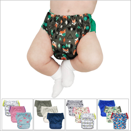 Ecoable - 3-in-1 Hybrid Cloth Diaper - 3-Pack Training Pants or Swim Diaper, Newborn Baby to 10 Years