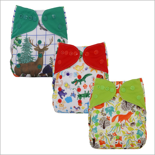 Ecoable - Diaper Cover with Bamboo Prefold and Snap-in Insert for Overnight