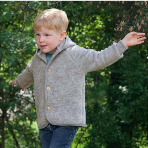 Engel - Baby Ultra Warm Jacket Cardigan with Hood, 100% Organic Wool Fleece, 0-24 Months
