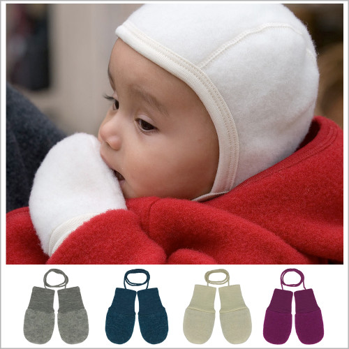 Engel - Baby Thumbless Mittens: Organic Merino Wool Snow Gloves with String