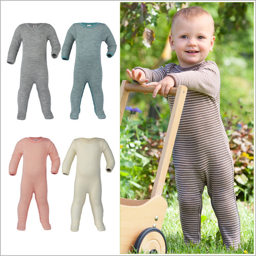 Engel - Footed Sleep and Play Pajamas, Organic Merino Wool and Silk, 0-24 months