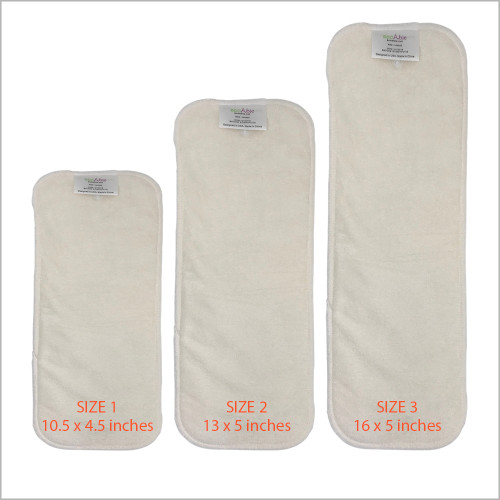 EcoAble - Snap-in Bamboo Booster Inserts Soaker Pads for Cloth Diapers, 3-pack