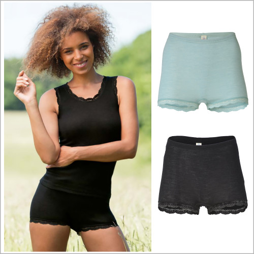 Engel - Women's Thermal Underwear: Moisture Wicking Merino Wool Silk Boy Shorts