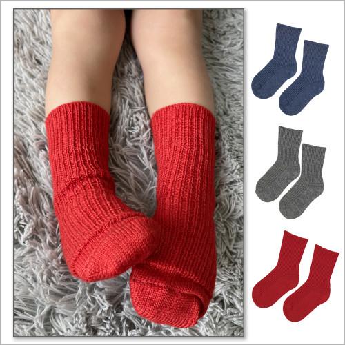 Hirsch Natur - Kids Wool Socks: 3-pack 100% Organic  Wool Socks for Girls and Boys, Size Baby – 8 Years
