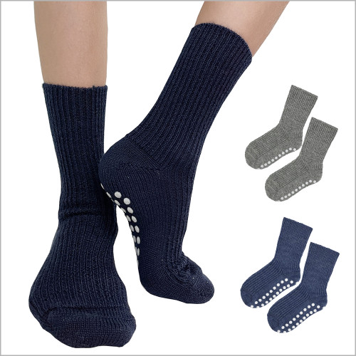 Hirsch Natur - Kids Socks with Grips: 3-pack 100% Organic Wool Socks for Girls and Boys, Size 1 – 8 Years