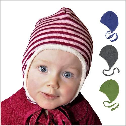 Reiff -Kids' Merino Wool Hat Lined with Organic Cotton Sherpa, Sizes Newborn - 5 years